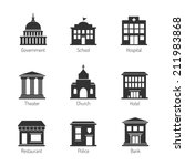Government building icons - stock vector