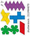 platonic solids paper model... | Shutterstock .eps vector #211984870