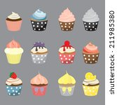 set of yummy cupcake  vector... | Shutterstock .eps vector #211985380