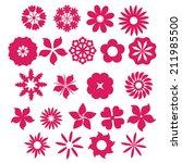 set of pink flower icon  vector | Shutterstock .eps vector #211985500