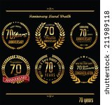 Anniversary laurel wreath retro labels, 70 years