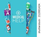 medical flat background concept.... | Shutterstock .eps vector #212001424