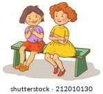 two girls talking together on... | Shutterstock .eps vector #212010130