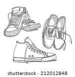 old sneakers vector drawing set ... | Shutterstock .eps vector #212012848