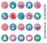 baby icons set in flat design... | Shutterstock .eps vector #212018359
