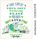 healthy lifestyle poster | Shutterstock .eps vector #212021578