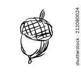 sketch of hand drawn acorn...   Shutterstock .eps vector #212080024
