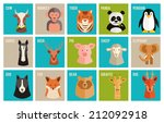 set of colorful named cartoon... | Shutterstock . vector #212092918