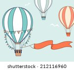 Air Balloons With Party Ribbon...
