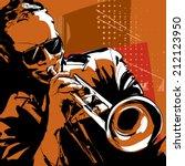 jazz trumpet player vector... | Shutterstock .eps vector #212123950