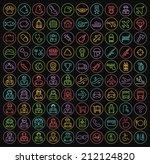 set of 100 minimal universal... | Shutterstock .eps vector #212124820