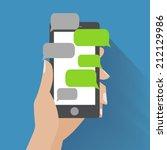 hand holing black smartphone... | Shutterstock .eps vector #212129986
