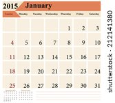 calendar 2015 january vector... | Shutterstock .eps vector #212141380