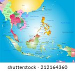Vector color southeast asia map - stock vector