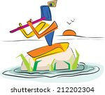 lord krishna evening | Shutterstock .eps vector #212202304