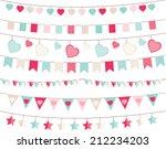 valentine bunting | Shutterstock .eps vector #212234203