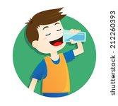 boy drinking water | Shutterstock .eps vector #212260393