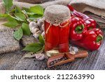 Homemade Canned Peppers On Old...
