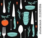 seamless kitchen pattern. hand... | Shutterstock .eps vector #212305306