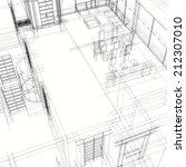 interior building sketch | Shutterstock . vector #212307010