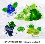 fruit set drawn watercolor...   Shutterstock .eps vector #212326636