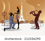 romantic couple in the paris... | Shutterstock .eps vector #212336290