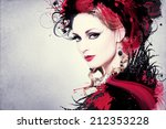 beautiful woman  artwork with... | Shutterstock . vector #212353228