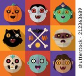 halloween flat icons. vector... | Shutterstock .eps vector #212363689