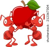 animals,ant,apple,bug,cartoon,character,clipart,crawling,cute,dessert,edible,food,fruit,funny,happy