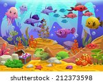 Underwater world, cartoon vector illustration - stock vector