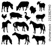 Stock vector silhouettes of farm animals on a white background livestock icons 212382940