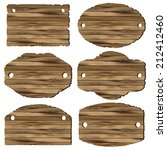 a set of wooden planks on white ... | Shutterstock .eps vector #212412460
