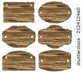 a set of wooden planks on white ... | Shutterstock .eps vector #212412460