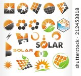 Solar symbols, icons and signs set