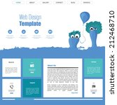 funny flat website template ...