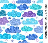 hand drawn clouds with stars.... | Shutterstock .eps vector #212476780