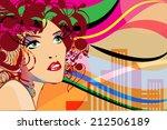 beautiful fashion women  with...   Shutterstock .eps vector #212506189