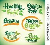 organic fresh vector labels set | Shutterstock .eps vector #212517400