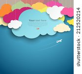 colorful paper cut clouds shape ... | Shutterstock .eps vector #212520214