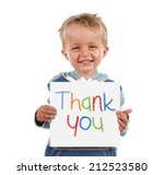 child holding a crayon thank... | Shutterstock . vector #212523580