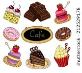 sweet cakes set. hand drawn