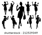 silhouettes of girls with... | Shutterstock .eps vector #212529349