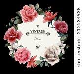 wreath of roses  watercolor ...   Shutterstock . vector #212534938