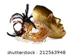 gold venetian masks isolated...