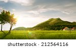 panoramic view of nice green... | Shutterstock . vector #212564116