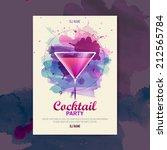 cocktail watercolor paint disco ... | Shutterstock .eps vector #212565784