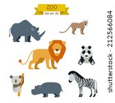 Flat Design Vector Animals Ico...