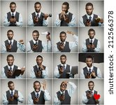 Small photo of Smartphone addiction concept. Collage, portrait man, executive businessman using smart phone all day long, multitasking isolated grey background. Face expressions, emotions, perception, body language