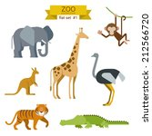 flat design vector animals icon ... | Shutterstock .eps vector #212566720