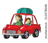 family road trip by a car | Shutterstock .eps vector #212578048